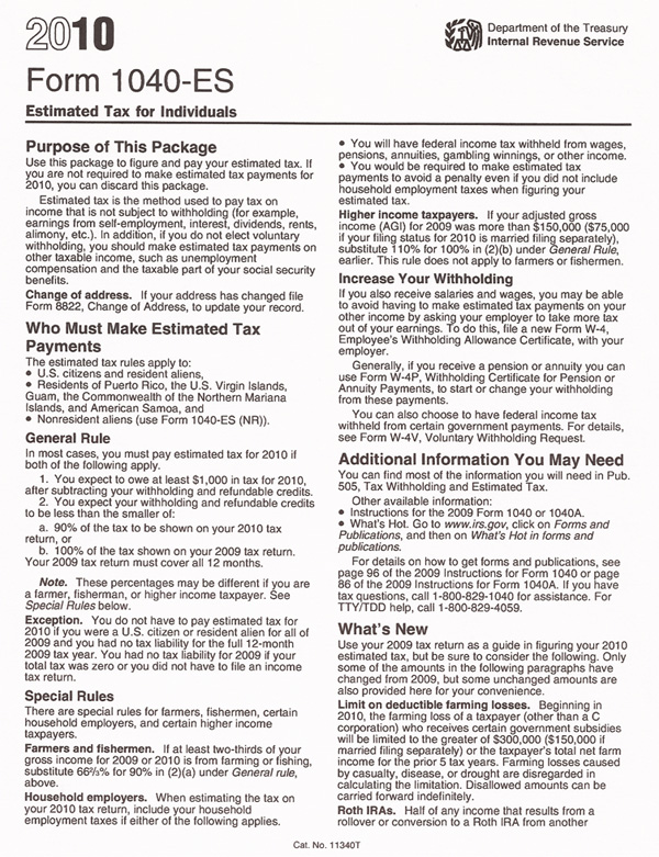 Print Irs Form Es  Quarterly Estimated Tax TaxmanCom